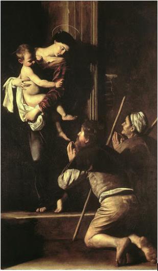 caravaggio old master lescargot ivana porcini santagostino madonnadei pellegrini